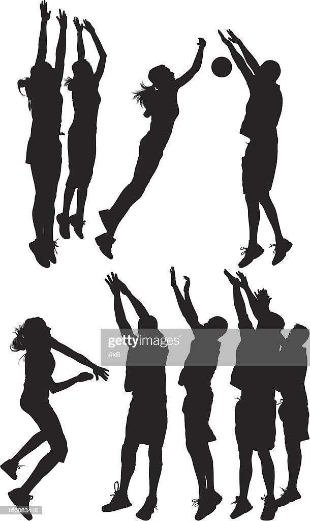 Silhouette of people playing volleyball : Vector Art
