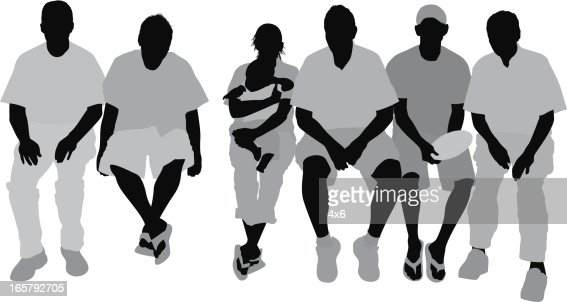 Silhouette Of People Sitting Vector Art | Getty Images