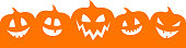Silhouette of pumpkins with copyspace - banner. Vector.