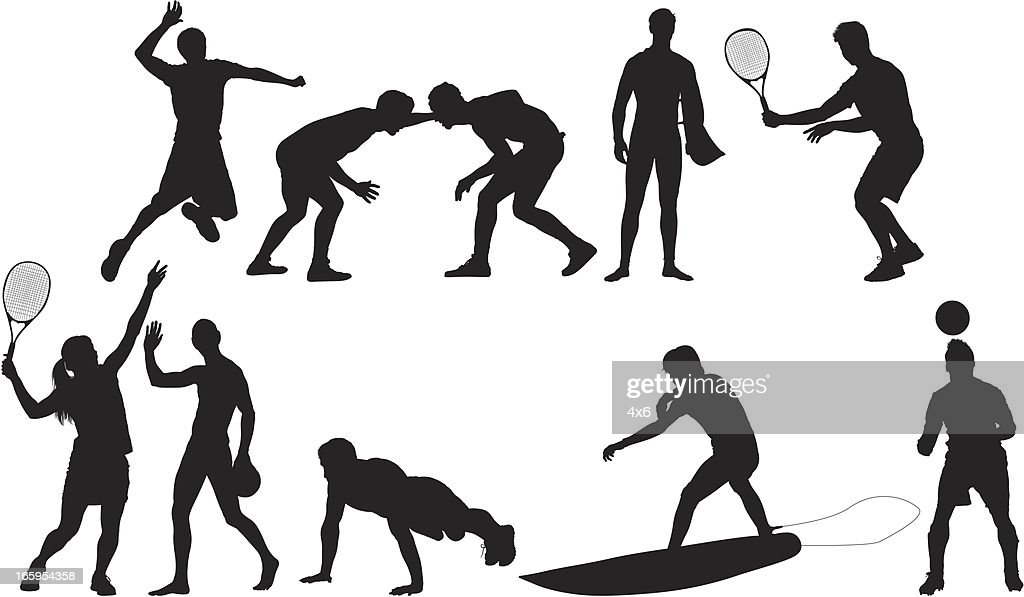 Silhouette of sports people in action : Vector Art