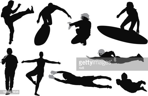 Silhouette of sports people in different action : Vector Art