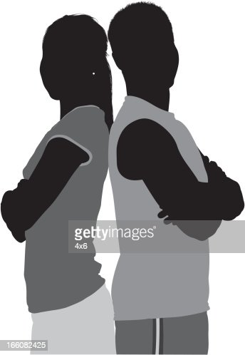 Silhouette of sports people standing with their arms crossed : Vector Art
