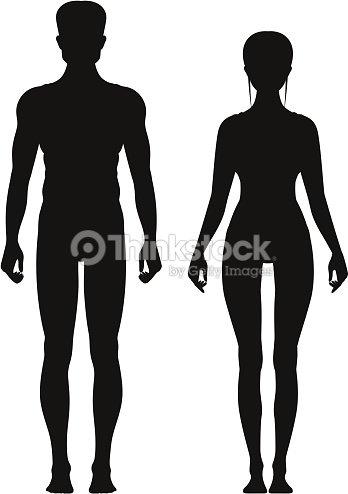 Silueta De Deportivo Hombre Y Mujer Vista Frontal De Pie Modelos De ...