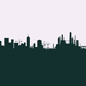 Silhouette of the city. Houses, skyscrapers and industry. Vector Stock illustration.
