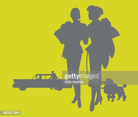 Silhouette of Two Women and Car : Vector Art