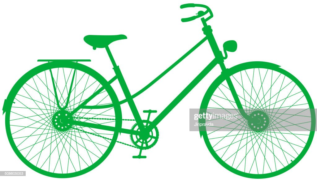Silhouette of vintage bicycle in green design : Vector Art