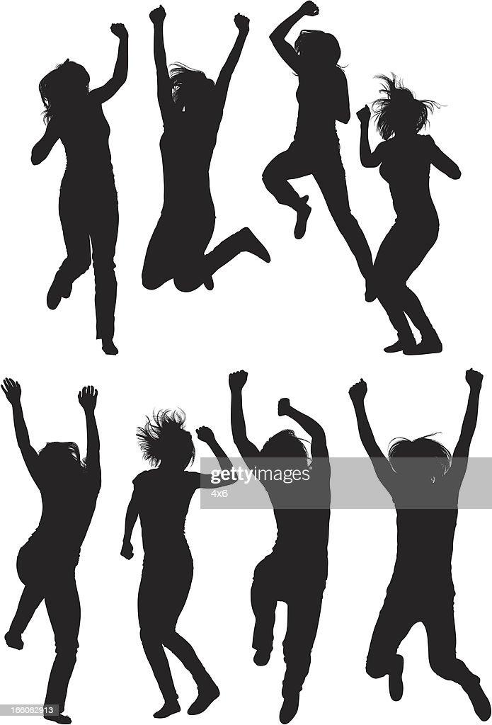 Silhouette of women jumping : Vector Art