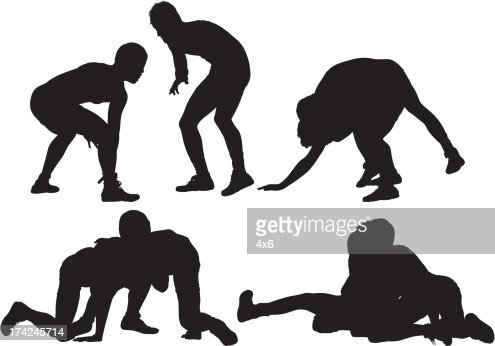 Silhouette of wrestlers in action : Vector Art