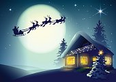 Silhouette Santa Claus and reindeer flying over Christmas house in winter forest. Vector illustration for greeting card