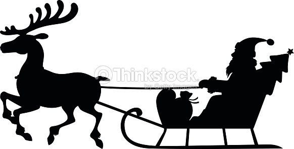 Silhouette Santa Claus Sleigh With Deer Vector Art ...