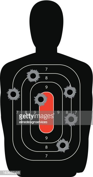 Silhouette Shooting Range Gun Target with Bullet Holes : Vector Art