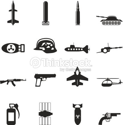 Silhouette Simple Weapon Arms And War Icons stock vector