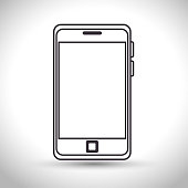 silhouette smartphone technology white background vector illustration eps 10