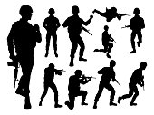 Armed forces set of high quality detailed silhouettes of military army soldier