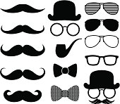 set of black moustaches silhouettes and design elements isolated on white background