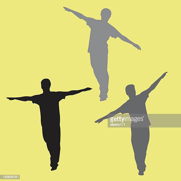 3 silhouettes of a man trying to balance himself