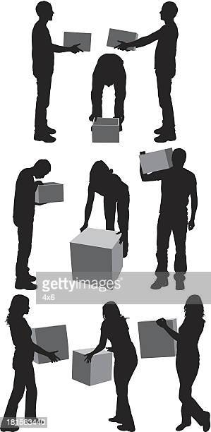 Silhouettes of a people carrying boxes