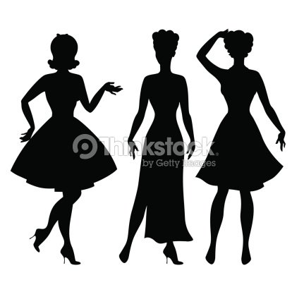 1f0a65d19a2 Silhouettes Of Beautiful Pin Up Girls 1950s Style stock vector ...