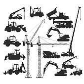 Big collection of construction vehicles and heavy machines, building  equipment set, EPS 8