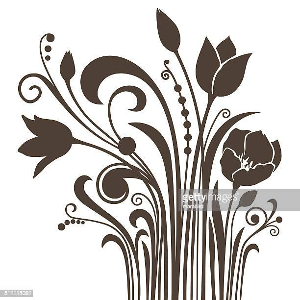 Silhouettes of dark-brown tulips isolated on white