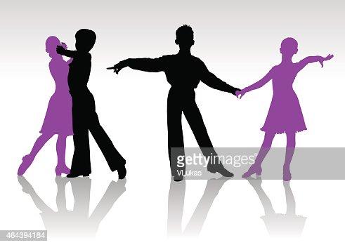 Ballroom Dancing Silhouette Vector Silhouettes Of Kids Da...
