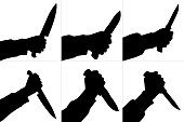 Silhouettes of killing knife in hand, isolated. Vector set.