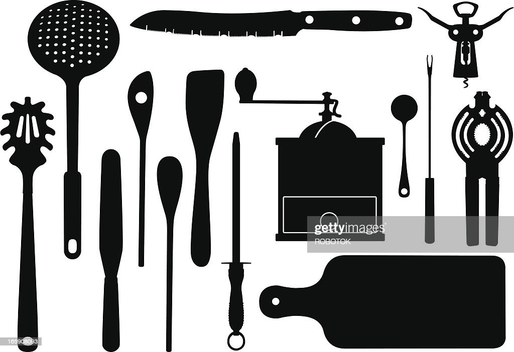 Silhouettes Of Kitchen Utensils Vector Art | Getty Images
