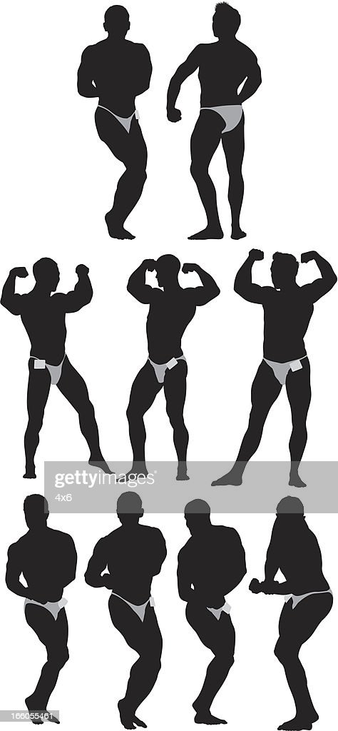 Silhouettes of male body builders : Vector Art