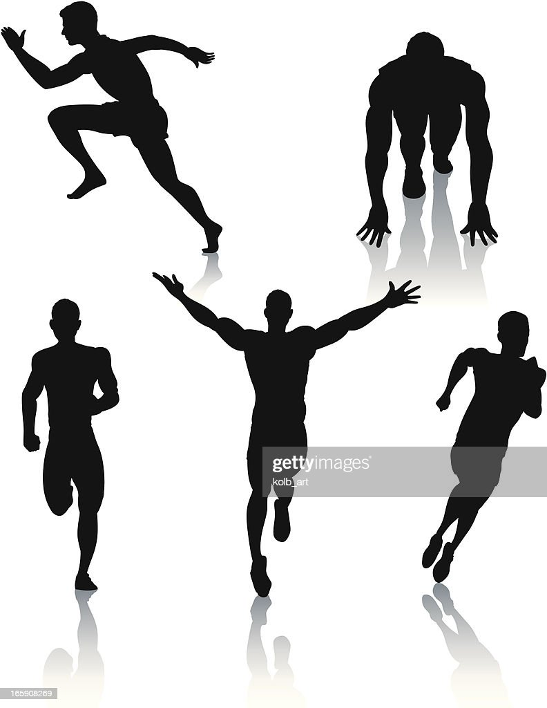 Silhouettes of men sprinting : Vector Art