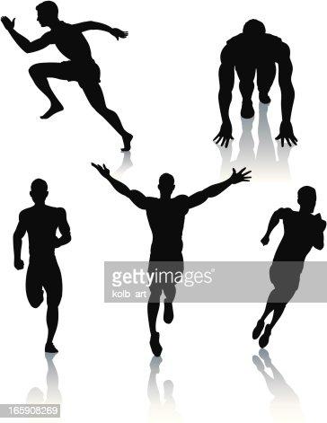 Silhouettes of men sprinting : Vector Art