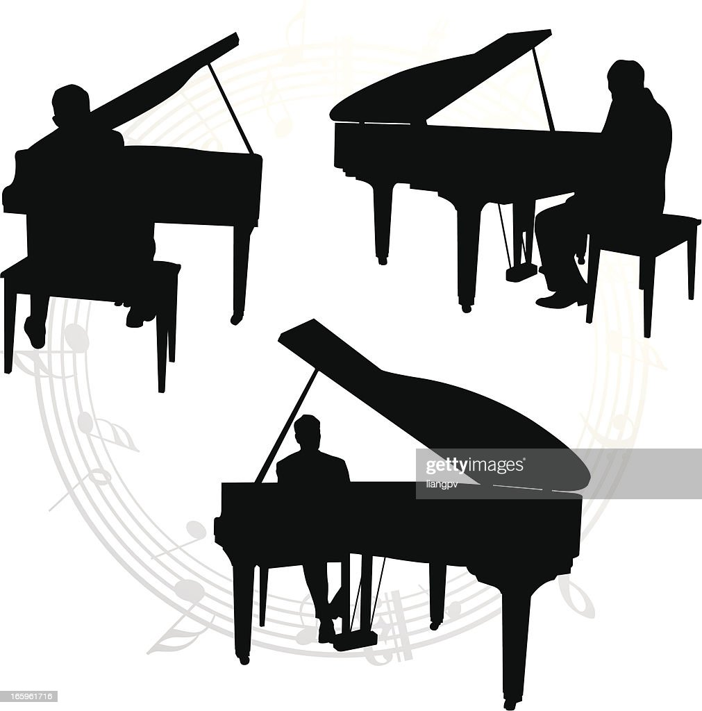 silhouettes of pianists and music notes vector art getty images