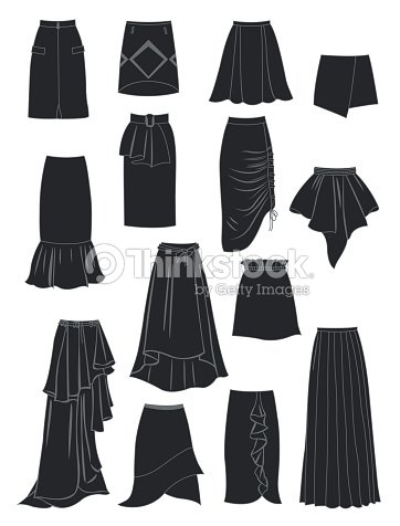 32154937ab1a Silhouettes Of Skirts With Asymmetry And Folds stock vector - Thinkstock