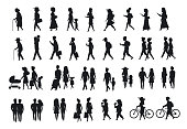 silhouettes set of people walking.family couples,parents, man and woman different age generation walk with bikes,smartphones, coffee,eat,texting,talking, side back and front views isolated vector illu