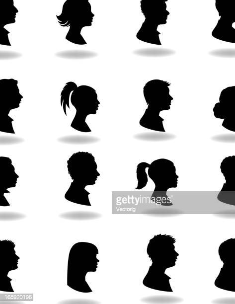 16 silhouettes with shadows on white background