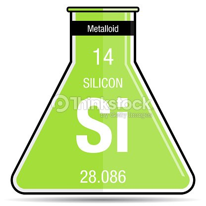 Silicon Symbol On Chemical Flask Element Number 14 Of The Periodic
