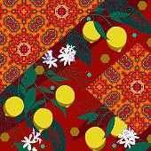 Silk scarf with geometric motif and lemons