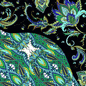 Silk scarf with paisley