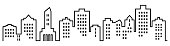 Sillhouette of town, group of houses with windows. Black and white icon. Vector icon. Lots of high-rise houses.