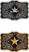 A rectangular buckle with the Lone star of Texas, with a detailed hand drawn decoration.