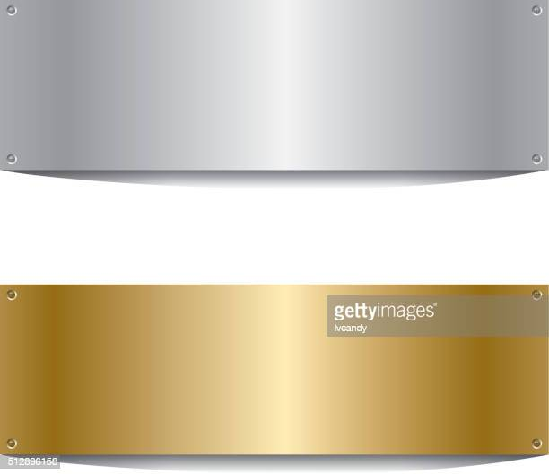 Silberne und goldene Bord
