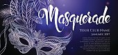 Vector Illustration. Silver carnival mask with feathers. Beautiful concept design with hand drawn lettering 'Masquerade' for greeting card, party invitation, banner or flyer.
