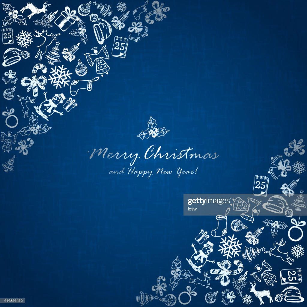 Silver Christmas elements in corner on blue background : Vector Art