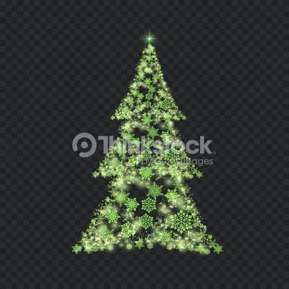 Silver Christmas Tree On Transparent Background Stock Vector