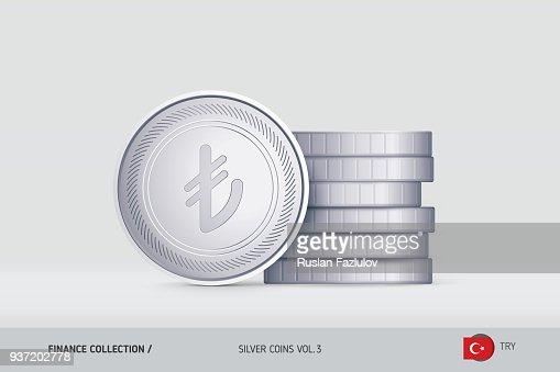 Silbermünzen Realistische Türkische Liramünze Stand In Der Nähe Von