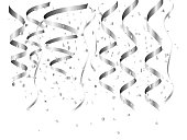 Vector illustration of SIlver confetti celebration isolated on white background