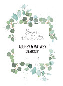 Silver dollar eucalyptus branches vector design square card. Cute rustic wedding greenery frame. Mint, blue tones. Watercolor style collection.Mediterranean tree.All elements are isolated and editable