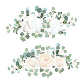 Silver dollar eucalyptus, white rose and hydrangea vector design garland bouquets. Cute rustic wedding greenery. Mint, blue tones. Watercolor style collection. Invitation wreath. Mediterranean tree.