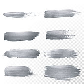 Silver glitter paint brush strokes set or abstract dab smear with smudge texture on transparent background. Vector isolated set of glittering silver paint ink splash for luxury cosmetic design
