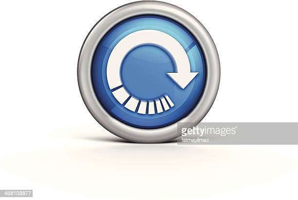 Silver outer circle with blue inner and white refresh arrow