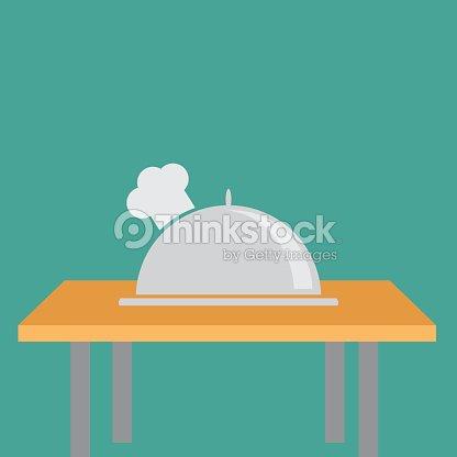 Silbertablett Topfhut Chefhut Auf Dem Tisch Flatdesign Vektorgrafik